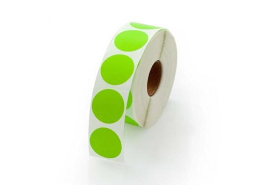 Etikety na kotúči 12x12 mm (VxŠ), zelené, 10000 ks, 40, IN, kruh, 5P