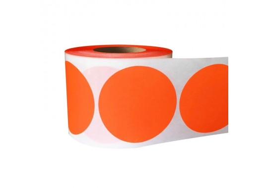 Etikety na kotúči 15x15 mm (VxŠ), oranžové, 10000 ks, 40, IN, kruh