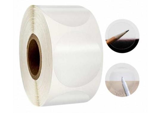 Etikety na kotúči 33x33 mm (VxŠ), priesvitné plastové, 1000 ks, 40, IN, kruh
