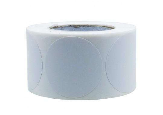 Etikety na kotúči 50x50 mm (VxŠ), biele plastové, 2000 ks, 40, IN, kruh