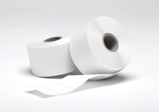 Etikety na kotúči 80x80 mm (VxŠ), biele plastové, 700 ks, 40, IN
