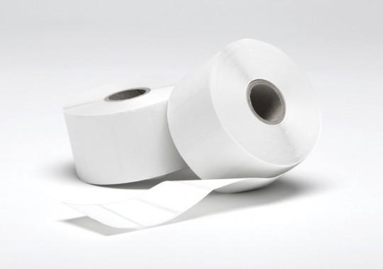 Etikety na kotúči 55x90 mm (VxŠ), biele plastové, 1000 ks, 40, IN